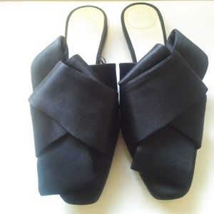 H&M Conscious Collection Black Satin Bow Mules 36